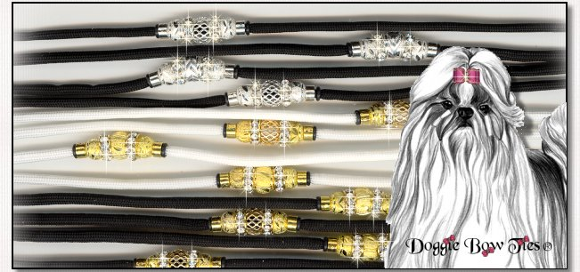 Beaded dog leads-Black and white with crystal beading.