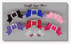 Puppy Dog Bows-Rhinestone Buckle Barrettes Satin