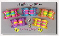 Dog Bows Full Size-Candy Striper, swiss dot, stripe, yellow, pink, blue