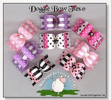 Dog Bows Full Size-Hello Doggie, swiss dot, stripe, pinks, lavender, black, hot pink