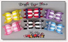 Dog Bows Full Size-Miss Priss, swiss dot, stripe, yellow, pink, lavender, blue, patriotic