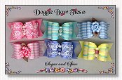 Dog Bows Full Size-Sugar and Spice, yellow, pink, blue, aqua