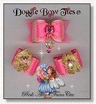 Dog Bows-Fana Cee™ Spun Gold Pink Angel