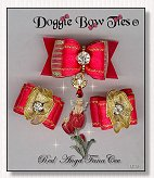Dog Bows-Fana Cee™ Spun Gold Red Angel