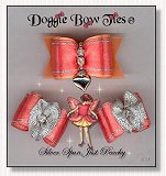 Dog Bows-Fana Cee™ Spun Silver Just Peachy Heart