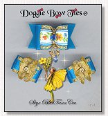 Dog Bows-Fana Cee™ Spun Gold Skye Blue Angel