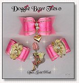 Dog Bows-Fana Cee™ Spun Gold Pink Heart
