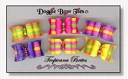Dog Bows Full Size- Tropicana Brites, hot pink, yellow, purple