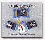 Dog Bow-Christmas Blue Snowman
