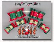 Dog Bow-Christmas, satin, gold, puppy size, full size