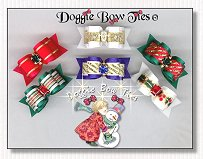 Puppy Dog Bows-Christmas I, satin, gold, ruby, emerald