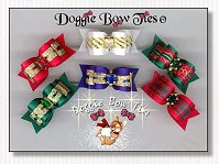 Puppy Dog Bows-Christmas II dog bows , satin, ruby, sapphire, emerald