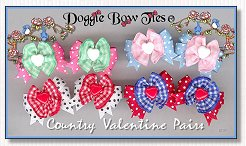 Dog Bows-Country Valentine Pairs , ginghams
