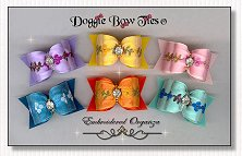 Dog Bows-Embroidered Organza dog bows