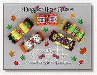 Puppy Dog Bows-Fall Colors I , swiss dot, stripe, autumn rhinestones