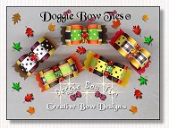 Puppy Dog Bows-Fall Colors II, swiss dot, stripe, orange, lime, black, gold