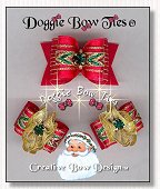 Dog Bow-Christmas Red Chevron Gold Spun FanaCee™