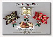 Dog Bow-Mistletoes Bow Dangles, Christmas