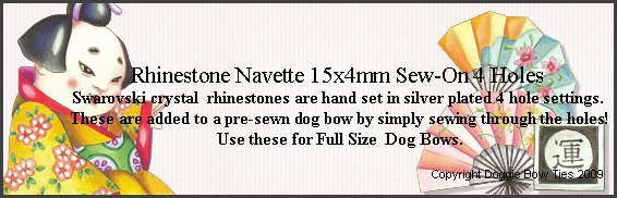 Sew-On Rhinestones-Navettes 15x4mm with 4 holes