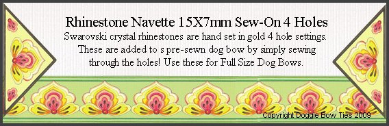 Sew-On Rhinestones-Navette 15x7mm with 4 holes